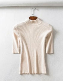Fashion Beige Threaded Collar Middle Sleeve Knit T-shirt