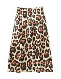 Fashion Khaki Leopard-print High-waist Skirt