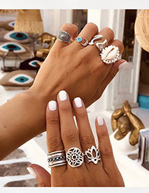 Fashion Silver Alloy Shell Ring Set