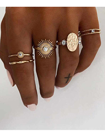 Fashion Golden Alloy Sun Ring Set
