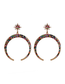 Fashion Color Star Moon Moon Earrings With Diamonds