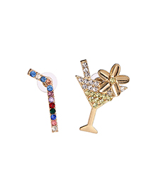 Fashion Color Straw Cup Geometric Asymmetric Earrings With Diamonds