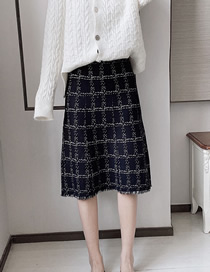 Fashion Black Plaid Fringed Rhombus Knitted Skirt