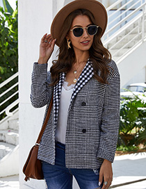 Fashion Black Plaid Checked Double-button Suit