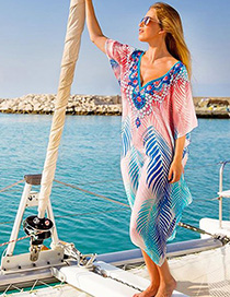 Fashion Blue Chiffon Printed Bat Sleeve Loose Sunscreen