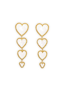 Fashion Golden White Gold-plated Drip Oil Love Earrings