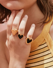 Fashion Black Love Opening Oil Ring (single Price)