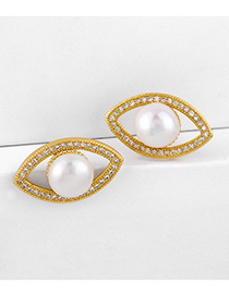 Fashion Golden Diamond-eyed Earrings With Diamonds And Pearls