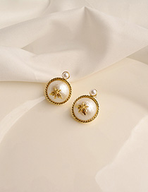 Fashion White Round Pearl Bee Earrings