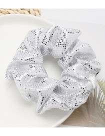 Fashion White Small Round Sequin Large Bowel Hair Rope