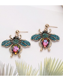 Fashion Basket Color Alloy Diamond Bee Earrings