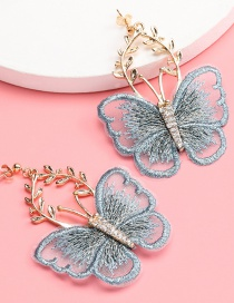 Fashion Blue Grey Alloy Flower Lace Butterfly Earrings