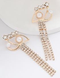 Fashion Golden Pearl Pentagram Eye Tassel Earrings With Diamonds