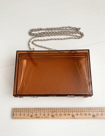 Fashion Brown Pvc Square Transparent Chain Shoulder Bag
