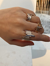 Fashion Golden Irregular Metal And Diamond Geometric Ring Set