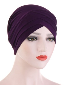 Fashion Deep Purple Forehead Triple Cross Crystal Hemp Hat
