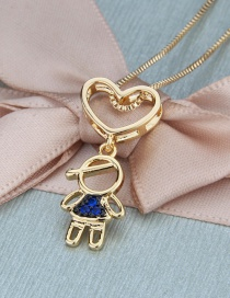 Fashion Gilded Man Love Hollow Boy Necklace With Diamonds