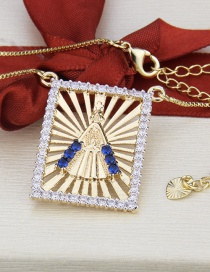 Fashion Gold-plated Cutout Our Lady Of The Diamonds Tag Necklace