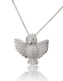 Fashion Platinum-plated Flying Bird Copper Necklace With Diamonds