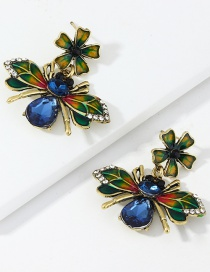 Fashion Blue Flower Bee Earrings With Diamond Alloy Dripping Oil