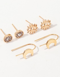 Diamante Flor Oreja Luna Stud Set