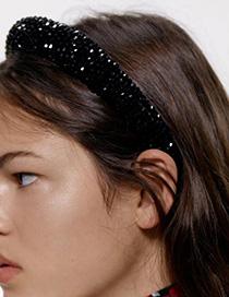 Fashion Black Cloth Sponge Resin Rice Beads Hair Hoop