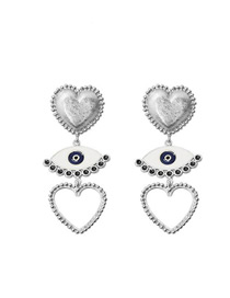 Fashion Silver Gold-plated Love Drop Oil Eye Earrings