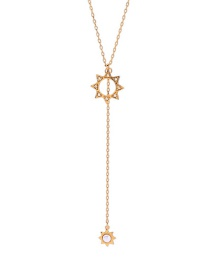 Fashion Golden Sun Flower Hollow Sweater Chain With Pearl And Diamonds