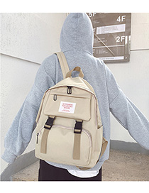 Fashion Gray Oxford-spun Letter-stamped Buckle Backpack