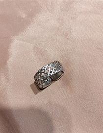 Fashion Silver Openwork Mesh Open Ring