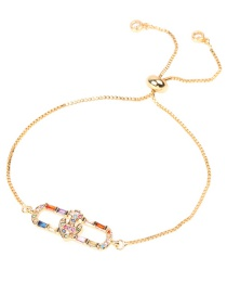 Fashion Color Gold-plated Pull Pull Telescopic Bracelet With Diamonds
