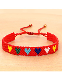 Fashion Red Rice Beads Woven Love Contrast Bracelet
