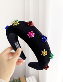 Fashion Color Sponge Gold Velvet Alloy Color Flower Headband