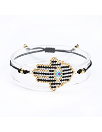 Fashion Black Hand-woven Rice Beads Bracelet