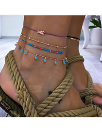 Fashion Blue Fish-shaped Beads Braided Rope Chain Anklet Suits