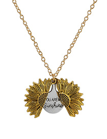 Fashion Yellow Sunflower Double Openable Necklace Lettering
