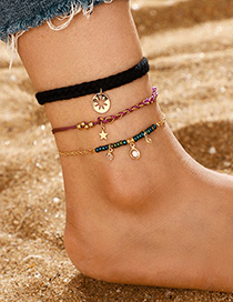 Fashion Golden Alloy Twist Disc Star Tassel Anklet Set