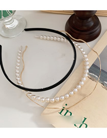 Fashion Black Pearl Wave Metal Toothed Hair Hoop Combination