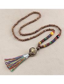 Fashion Golden Tassel Nepal Elephant Beads Sweater Chain