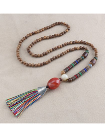 Fashion Red Tassel Crack Egg-shaped Agate Bead Sweater Chain