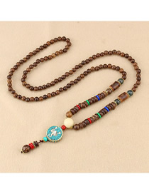 Fashion Blue Crab Small Disc Wooden Beads Long Sweater Chain