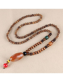 Fashion Brown Resin Cylindrical Wooden Bead Long Necklace