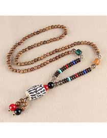 Fashion Black And White Resin Double Spike Wooden Beads Long Chain
