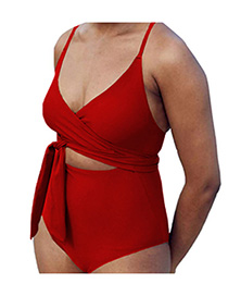 Fashion Scarlet Lace Up One Piece Swimsuit