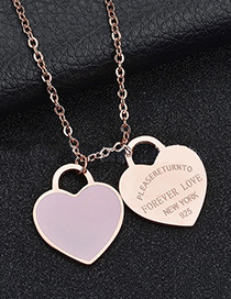 Fashion Pink Heart-rose Gold Stainless Steel Double Heart Enamel Letter Necklace