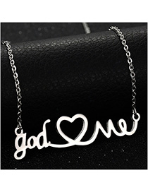 Collar De Acero Inoxidable Letter Love Hollow Couple