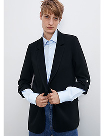 Fashion Black Messy Flap Sleeve Suit Jacket