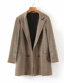 Fashion Khaki Plaid Blazer