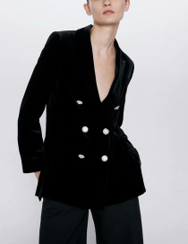 Fashion Black Velvet Blazer With Jewellery Buttons