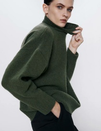 Fashion Dark Green Half Turtleneck Slip-on Sweater